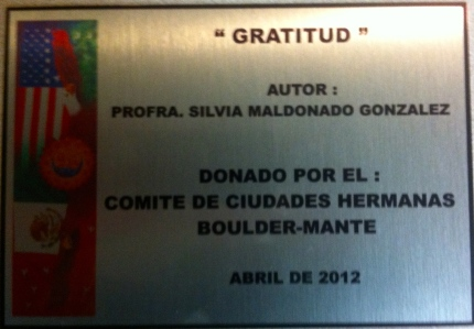 "Plaque for ""Gratitud"" by Professor Silvia Maldanado Gonzalez"